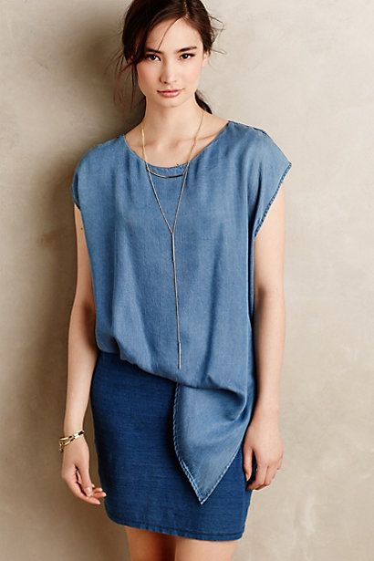 If this actually untucks, it might be nursing friendly! Love color, fabric.Tucked Chambray Dress #anthropologie