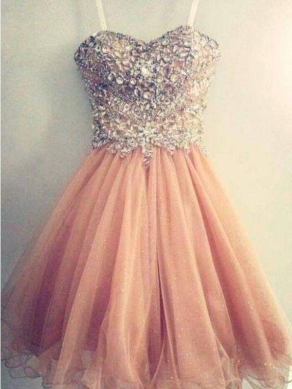 A-line/Princess Spaghetti Straps Sleeveless Beading Short/Mini Tulle Dress