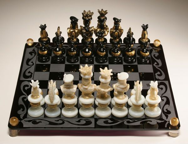 Antique Chess Set Game Fabulous Murano Glass Venetian