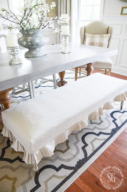 EASY DROPCLOTH SLIPCOVER-Here's an EASY. step-by-step diy to make a pretty slipcover from a painter's dropcloth. If you can sew a straight line, YOU CAN make this!