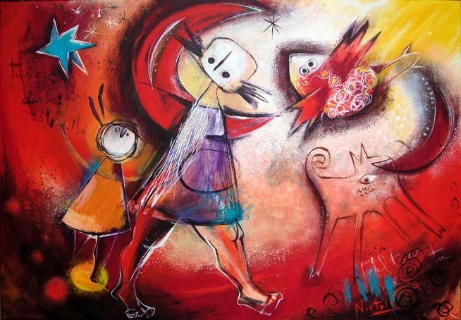 """Paseo en un día rojo"", 70 x 100 cm, Acrylics on canvas"