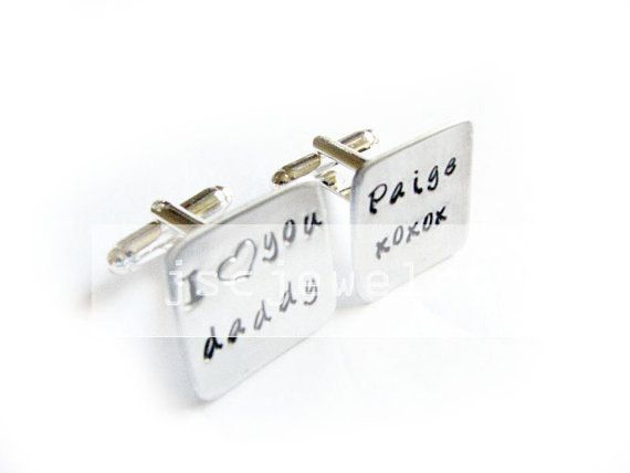New to abellagift on Etsy: Daddy Father Square Hand Stamped Cufflinks Wedding personalized Cuff links gift for dad Men (32.00 USD)