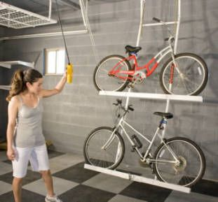Ceiling bike rack - A ceiling mounted rack for bike storage is not always  good choice for everyone's garage, though.