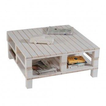 Tavolino quadrato doppio con piedi PALLET BIANCO