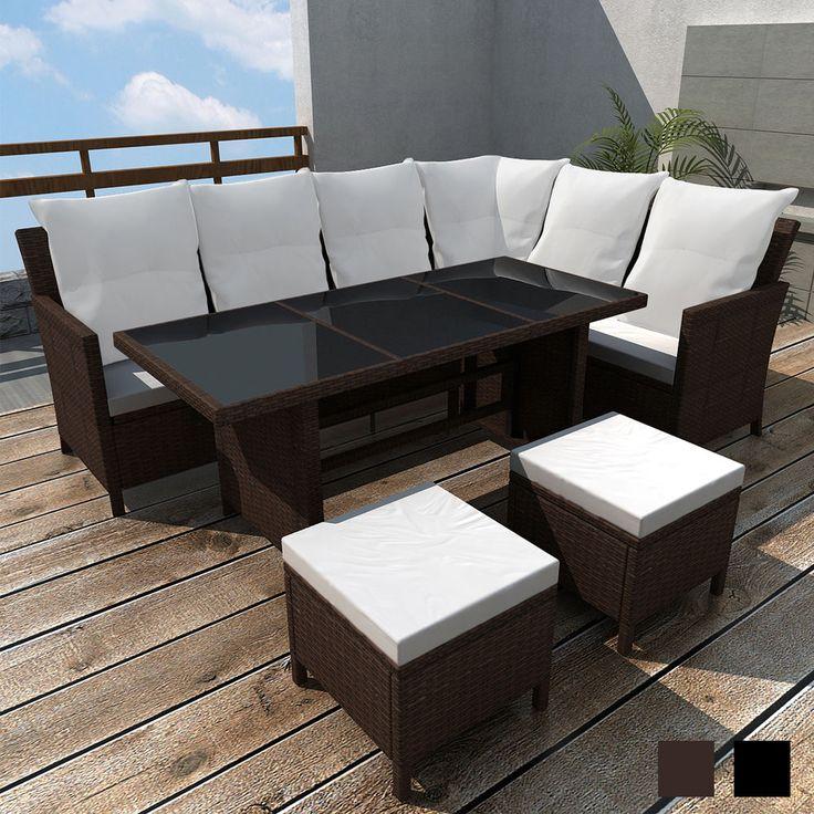 Popular Outdoor Patio Rattan Wicker Furniture Set Lounge Sofa Stool Table Brown Black