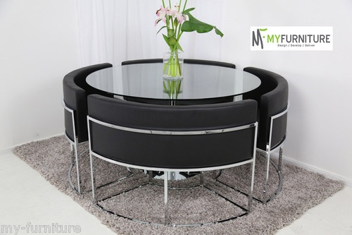 Round Glass Dining Table And Black Chair Set Hideaway D I N I N G P