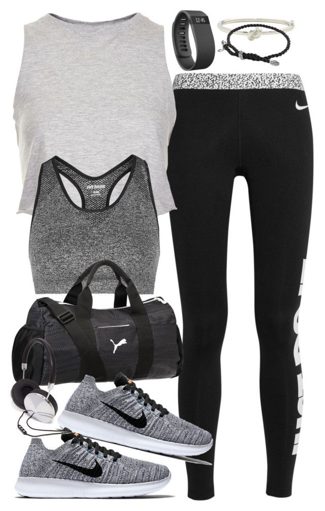 """Outfit for the gym"" by ferned on Polyvore featuring NIKE, Topshop, Puma, Fitbit, Kate Spade, David Yurman and Forever 21"