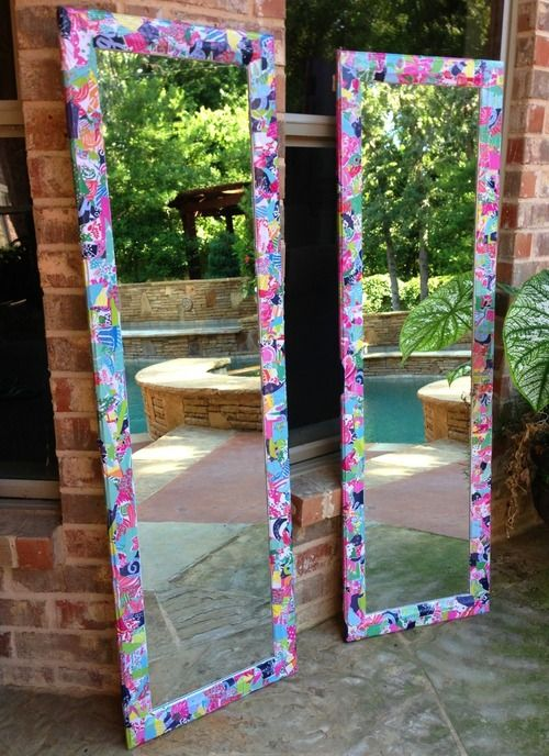 pinkandgreenlivingthedream: My sister made me these Lilly Pulitzer mirrors for my dorm out of an old Lilly agenda!!