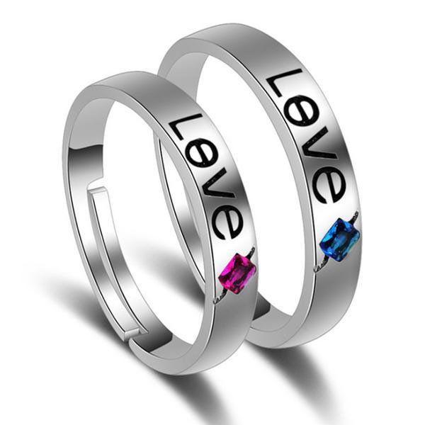 Retro Love Couple Promise Rings (Pair)
