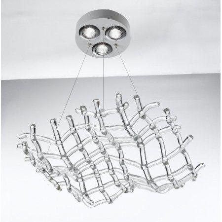 La ligne Matrix est caractérisée par des lignes elegantes et sophistiquées. De souples volutes realisées en Verre de Murano se developpent sur une structure en blanc ou noir.  Couleurs, dimensions et nombre de lumières peuvent être personnalisés comme bon vous semble; contactez-nous pour un devis gratuit.  Fonctionne avec des ampoules GU10 de 50 W.
