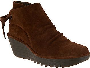 Fly London As Is Suede Ruched Ankle Boots with Tie Detail-Yebi