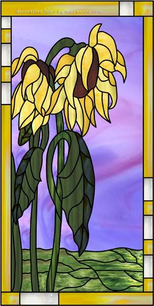 stained glass sunflowers   Shultes-M Decorative Window Film