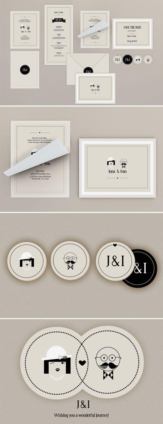kitschy black and white wedding invitation set