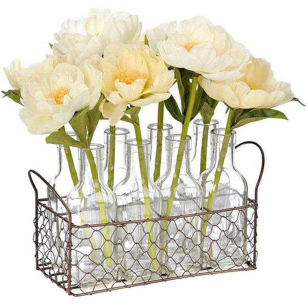 Cream Peony Glass Bottles Arrangement ($25) ❤ liked on Polyvore featuring home, home decor, floral decor, ivory basket, spring home decor, peony flower arrangement, flower home decor and flower arrangement