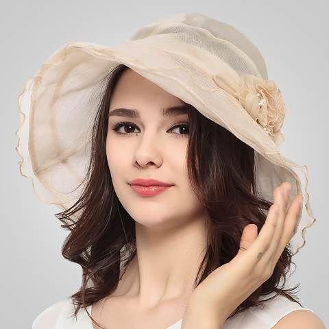 Sweet flower silk sun hat for summer UV protection ladies sun hats