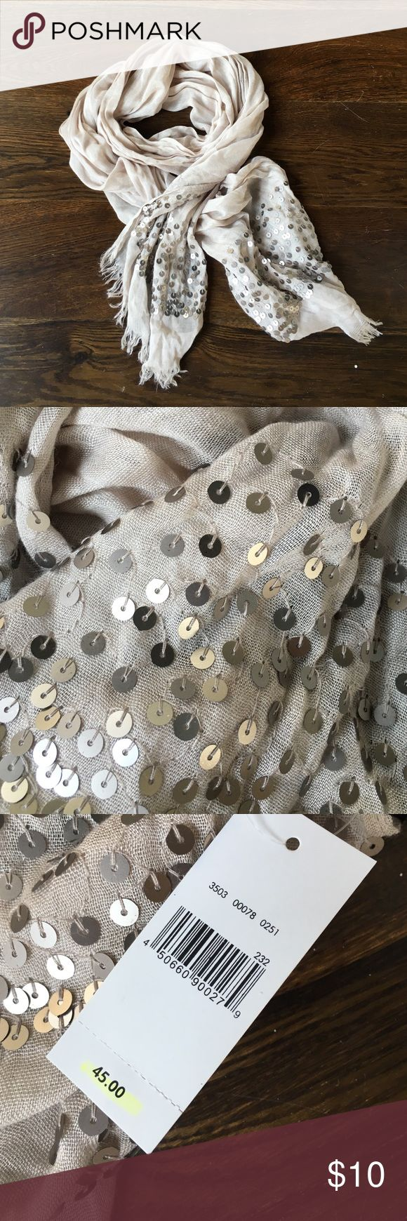 Statement scarf Nude scarf with sequin ends. Perfect for upcoming holiday looks. Never worn and new with tags. <smoke free home> Van Heusen Accessories Scarves & Wraps