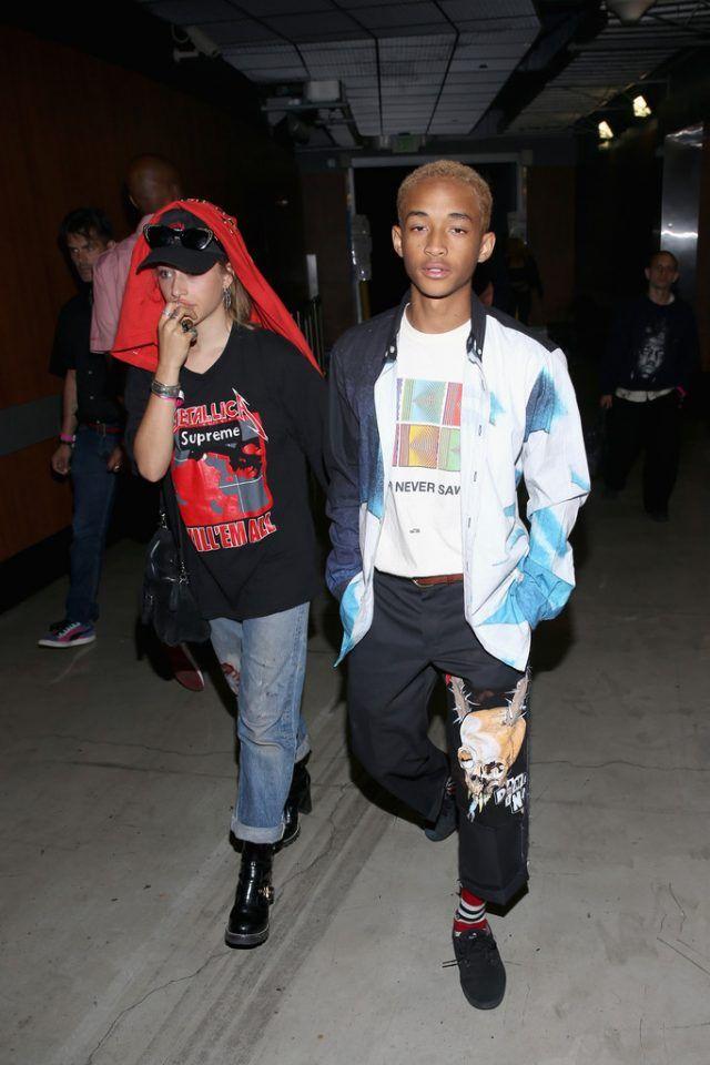 Jaden Smith Out In LA With Odessa Adlon Wearing Custom Dickies x MSFTSrep Pants | UpscaleHype