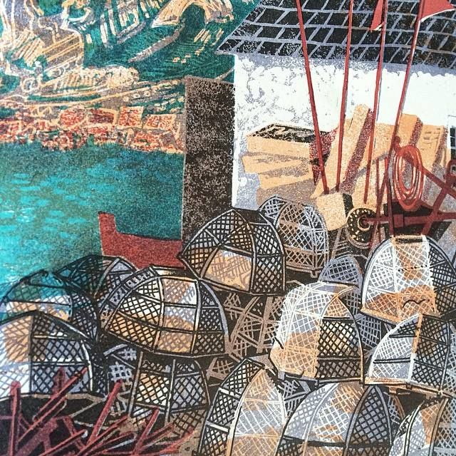 """""""Lulworth Cove"""" by Rena Gardiner from """"Dorset: The Isle of Purbeck"""", 1969. Rena self-published, illustrated, lithographed, printed, bound and distributed her books."""