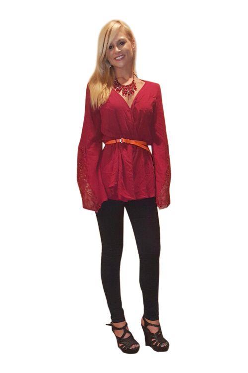 100% Rayon Boho Chic Lace Tunic Top! Crimson Red. - 5dollarfashions.com