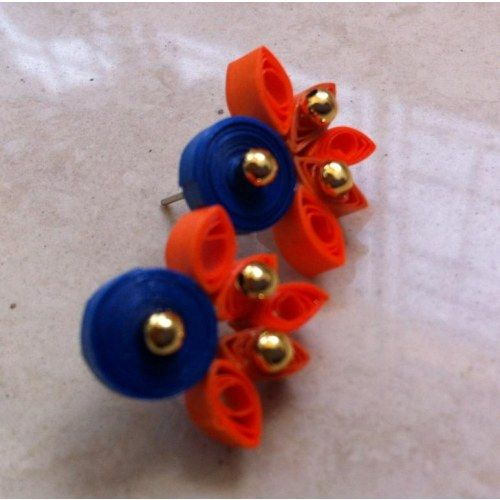 Handmade quilled blue and orange stud