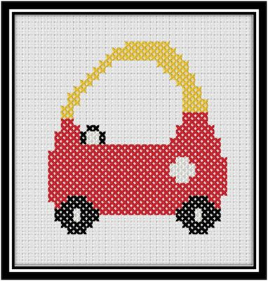 Free cross-stitch pattern for a cozy coupe. I might use it to make an applique.