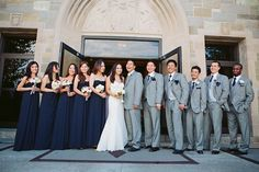 Classic Navy Blue & Gray Boston Wedding I'd like the bridesmaids dresses to be short, though.