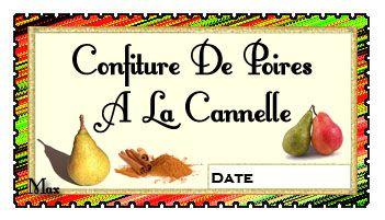 confiture poires cannelle etiquette