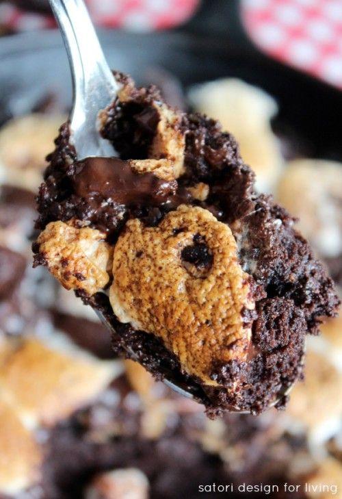 Skillet S'more Brownies Camping Dessert Recipe