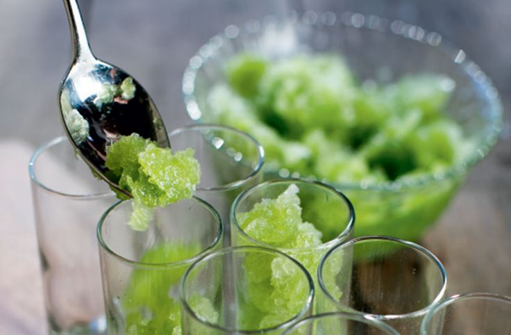 Parsley Granita Recipe: This refreshing palate cleanser is sweetened with apple juice and agave syrup.