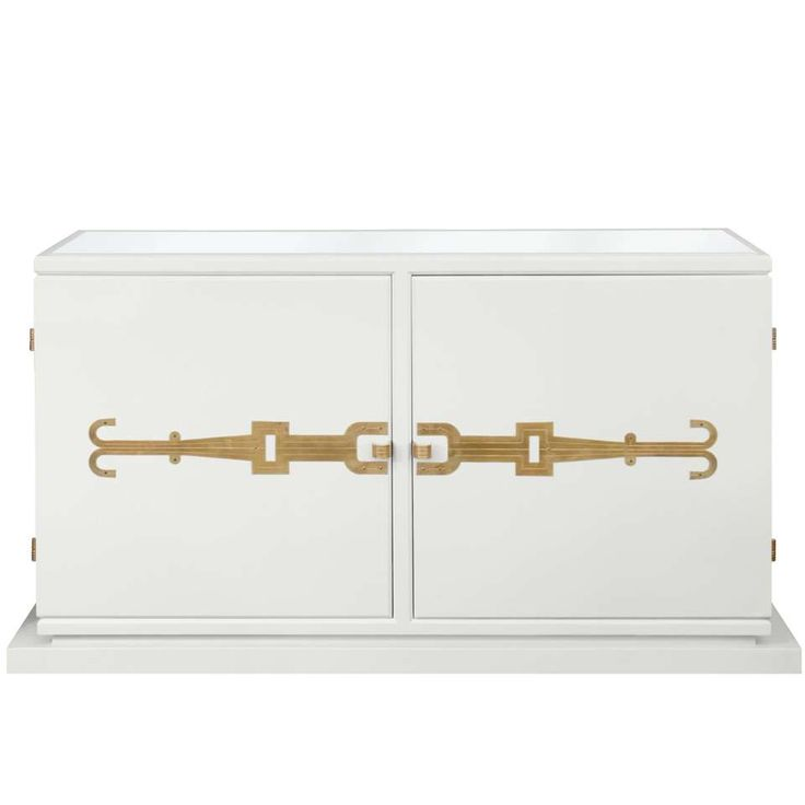 Tommi Parzinger Two-Door Credenza No. 140 with Iconic Brass Hardware 1950s 1