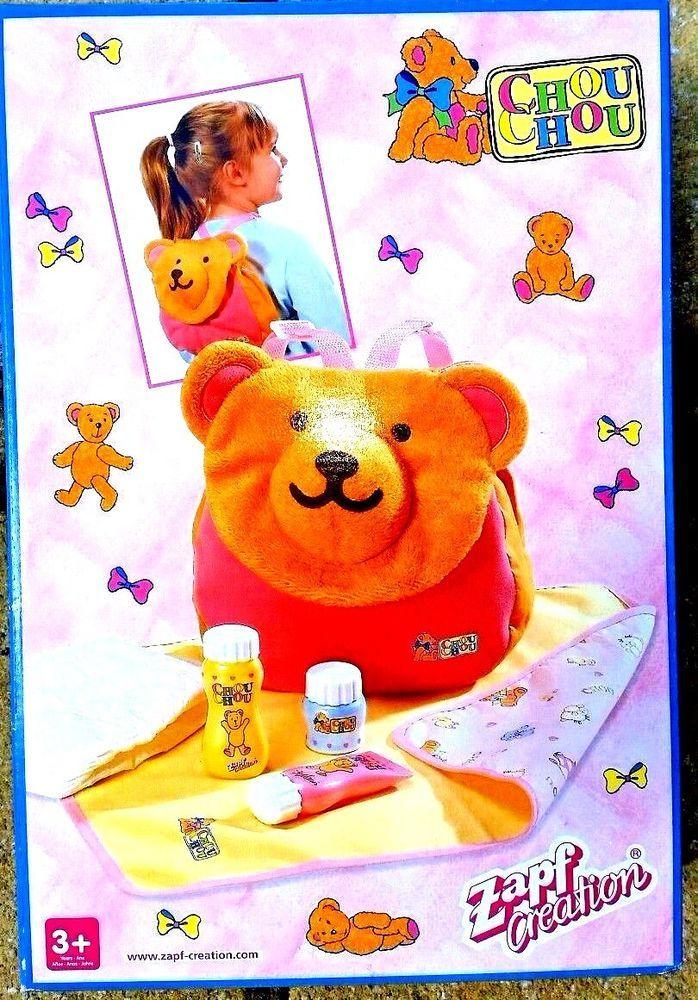 Chou chou zap creation bear bath with nappy bottles changing mat girls toy
