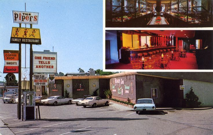 San Leandro CA old postcards Pipers Restaurant - San Leandro's first buffet