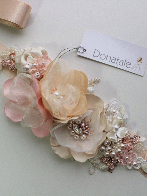 6a455b40cdb18 Rose gold Blush Bridal Belt Wedding Belt Bridal Sash   Wedding ...