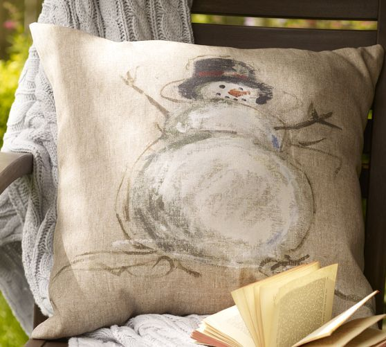 Painted Snowman Indoor/Outdoor Pillow | Pottery Barn