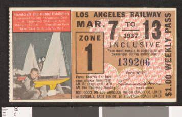 Los Angeles Railway weekly pass, 1937-03-07 :: LA as Subject