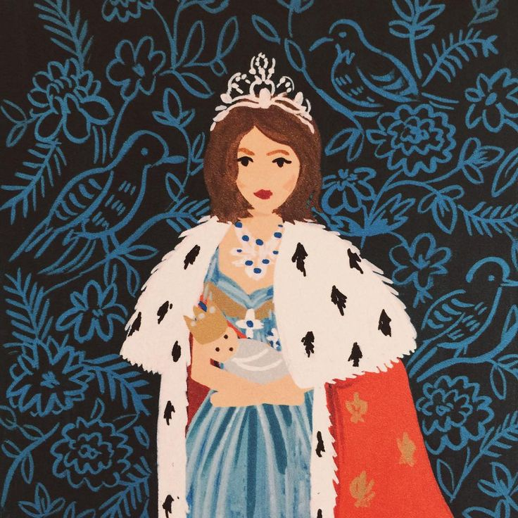 """The @riflepaperco design team made me into a Rifle queen for my birthday card.  I especially love this because it reminds me of how when I was little…"""