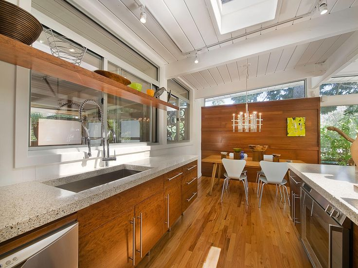 Architecture, Charming Wooden Kitchen Island Mid Century Ranch Also  Stainless Steel Sink Plus Modern Track Lighting And Refrigerator With Oven:  Beautiful ... Part 25