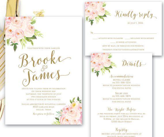 Blush Pink Gold Printable Floral Wedding by SimplyFetchingPaper
