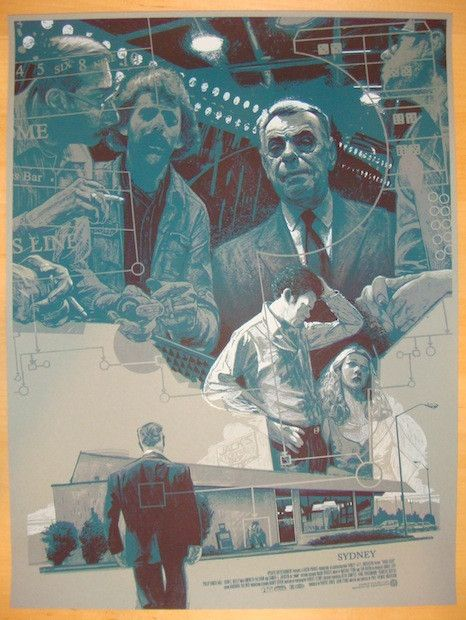 """Sydney - silkscreen movie poster (click image for more detail) Artist: Rich Kelly Venue: Mondo Paul Thomas Anderson series Location: N/A Date: 2013 Edition: 115; numbered Size: 18"""" x 24"""" Condition: Mi"""