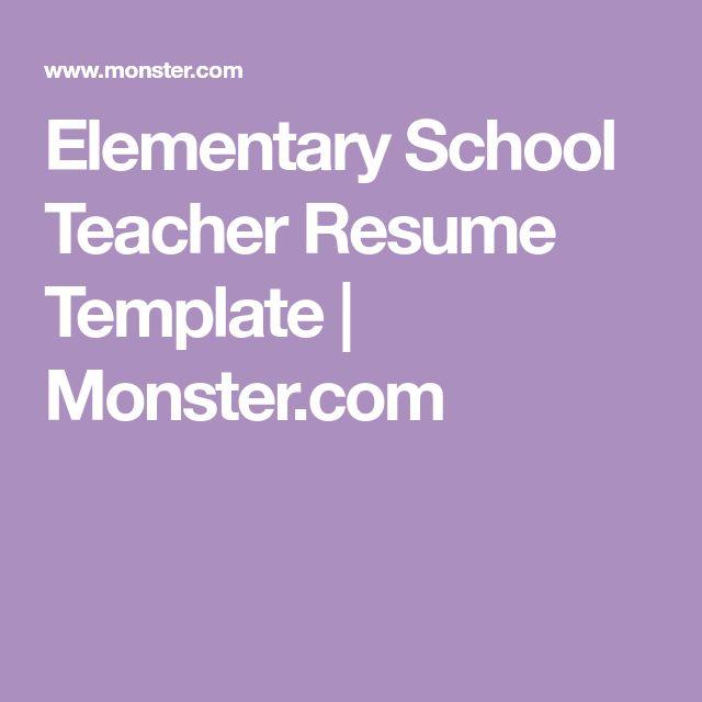 Elementary School Teacher Resume Template | Monster.com