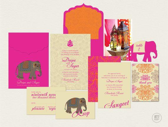 Indian Wedding Invitations in Fuschia Pink by ArtsyDesignCo.