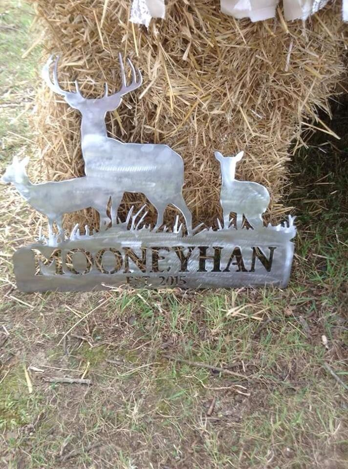 Deer scene sign, raw metal, with family name and est.2015   Wedding gift. Cnc plasma cut metal sign custom by Cardwell Metal Works on FB.