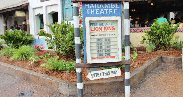 Harambe Theatre signs, Festival of the Lion King show times, harambe, africa, animal kingdom, walt disney world