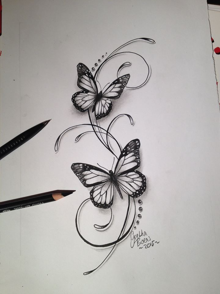 Schmetterlinge filigrane Tattoo-Design – Julie Blair