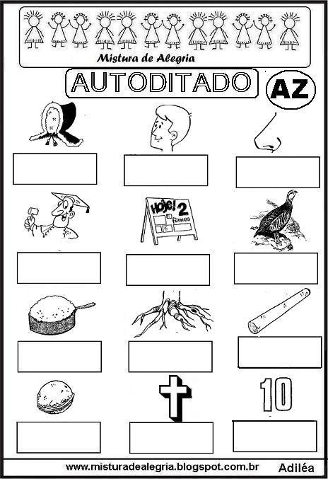 autoditado-letra-AZ-alfabetizacao-imprimir-colorir.JPG (464×677)