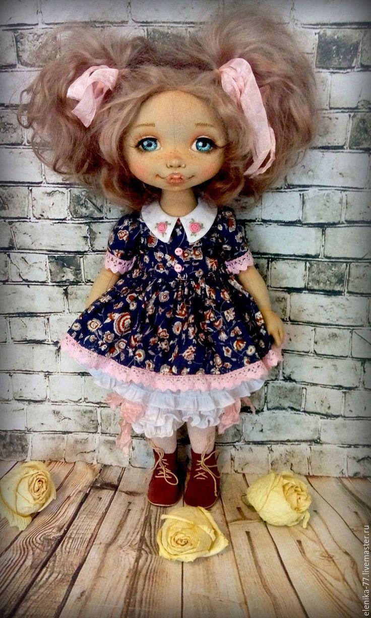 Купить Катюша. Текстильная кукла. - розовый, синий цвет, девочка, девочке, кукла, кукла из ткани