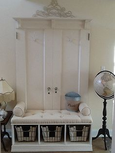 mud room coat rack bench from two old doors, foyer, organizing, repurposing upcycling, storage ideas