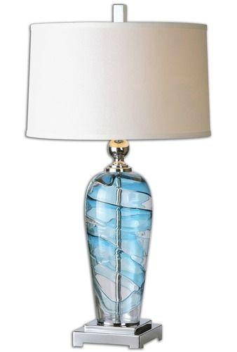 Seaworthy blue blown glass lamp