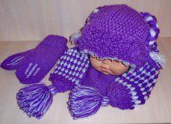 Комплект шапка+шарф+варежки. Работа Юлии Ягодки.