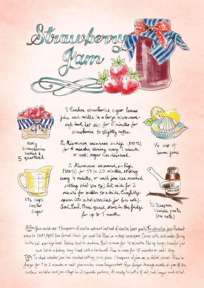 Strawberry Jam #Recipe. #illustration
